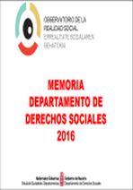 Memoria Departamento Derechos Sociales 2016